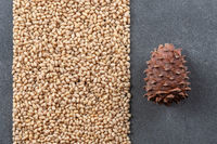 Peeled pine nuts and pine cones on a gray stone background.