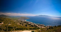 Landscape to the ionian sea from the top of Lekuresi Castle and military bunkers, Saranda, Albania