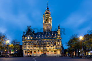 Illuminated townhall in medieval city Middelburg, The Netherlands