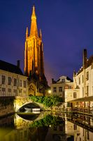 Church of Our Lady and canal. Brugge Bruges, Belgium