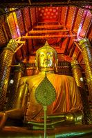 Gold Buddha statue, Wat Phanan Choeng, Ayutthaya, Thailand