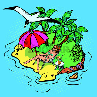 woman sunbathing on a tropical island