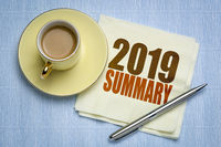 2019 year summary on napkin with coffee
