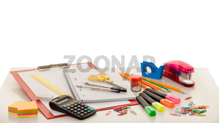 Colorful school or college equipment. Education