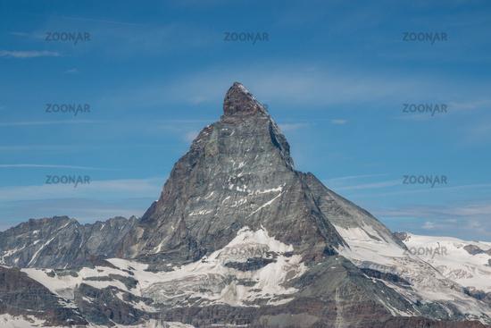 View closeup Matterhorn mountain, scene in national park Zermatt