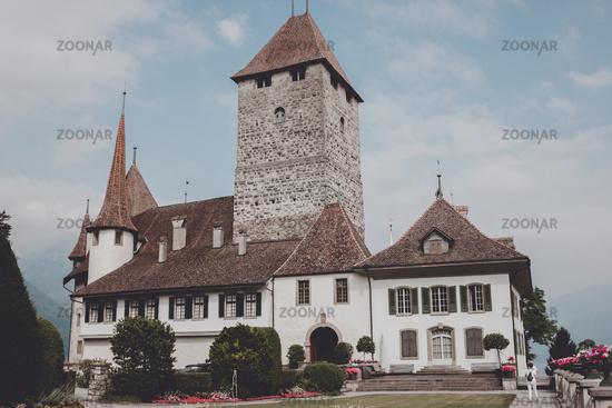 View on Spiez Castle - living museum and park, Switzerland, Europe