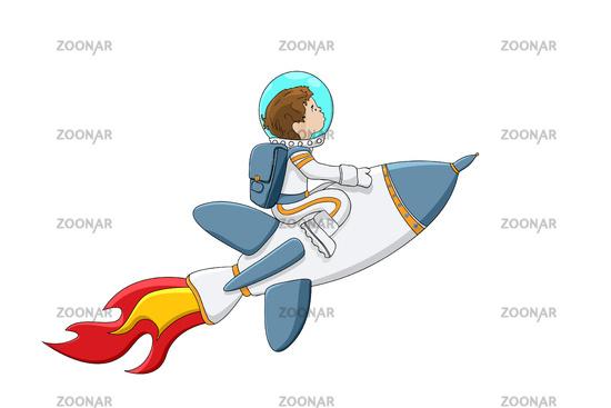 Astronaut boy on a rocket