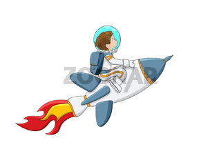Astronaut boy on a rocket