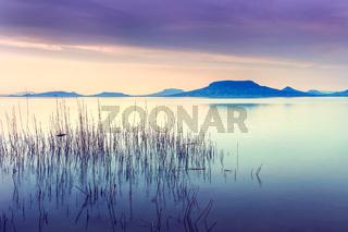 Beautiful sunset in lake Balaton