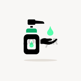 Sanitizer soap. Icon with shadow on a beige background. Pharmacy vector illustration