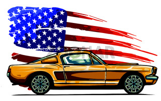 vector graphic design illustration of an American muscle car