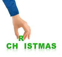 Hand and word Christmas