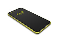 All-screen black and yellow smartphone mockup isolated on white. 3D render