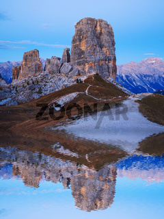 Cinque Torri rock formation under evening sun, Dolomite Alps