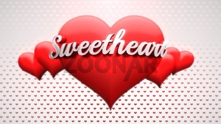Closeup Sweet Heart text and romantic heart on Valentines day shiny background