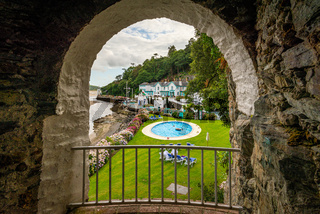 View on the Portmeirion seaside hotel from a cave