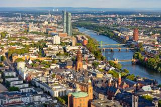 Aerial view over Frankfurt and the Main River.