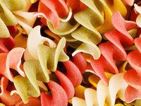 Multicolored Raw Spiral Pasta