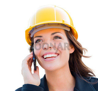 Female Contractor In Hard Hat Using Cell Phone Isolated On White