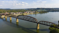 Aerial View Over the Ohio River near Point Pleasant West Virginia USa