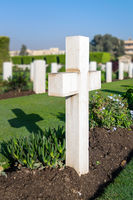 Cross tombstone at Heliopolis Commonwealth War Cemetery, Cairo, Egypt