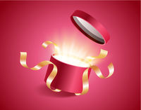 Red round opened 3d realistic gift box with magical shining glow and golden ribbons flying off cover, place for your text vector illustration