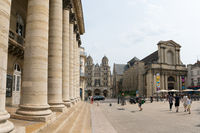 view of the Grand Theater and Saint Michel Church in the historic old city center of Dijon in Burgundy