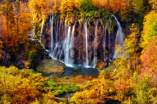 Waterfalls of Plitvice National Park in Croatia