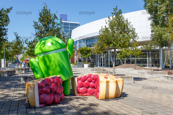 Google Android figure headquarter headquarters HQ Googleplex Mountain View