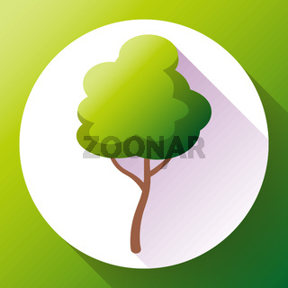 Flat green tree icon vector. Save forest and nature