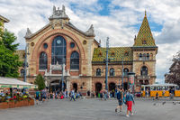 Front view of Great Market Hall in Budapest, Hungary,