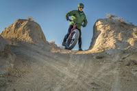 riding fat bike in badlands