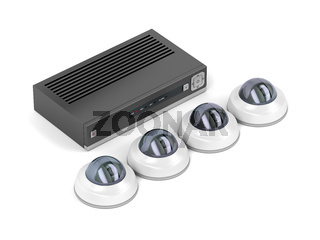 Dome security cameras and digital video recorder
