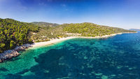 The beach Leftos Gialos of Alonissos from drone, Greece