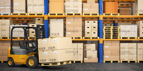 Forklift truck in storage warehouse. Fork lift lifting pallet with cardboard boxes.