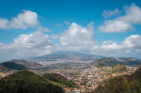 landscape aerial view over valley, hills and village - rural countryside of north Tenerife