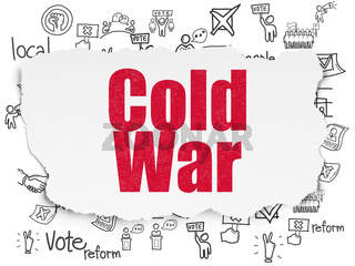 Politics concept: Cold War on Torn Paper background