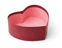 Open empty red heart shaped gift box