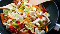 Pan of vegetable stir-fry