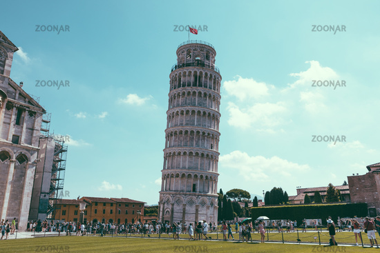 Panoramic view of Leaning Tower of Pisa or Tower of Pisa