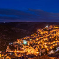 View of the old town of Ragusa Ibla at night, Sicily, Italy