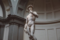Closeup of Renaissance sculpture is David by Michelangelo