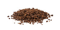 Grated chocolate. Pile of ground chocolate isolated on white background, closeup