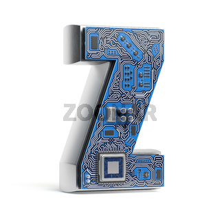 Letter Z.  Alphabet in circuit board style. Digital hi-tech letter isolated on white.