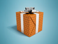 Gift in orange paper with bow and ribbons 3d rendering on blue background with shadow