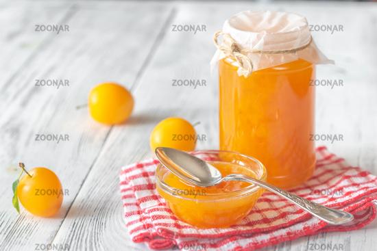 Glass jar of plum jam
