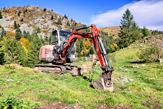 A digger in the mountains