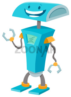 happy blue robot funny cartoon character