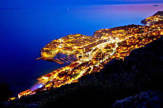 Town of Dubrovnik archipelago evening view from above