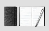 Black closed and open notebooks with pen isolated on grey
